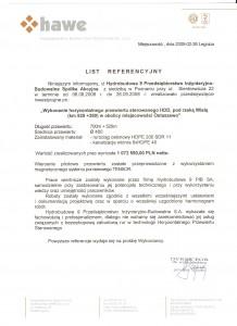 Hawe - referencje po zakończeniu przewiertu w Ostaszewie