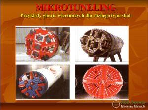 Przykłady głowic wiertniczych do wierceń mikrotunelowych w różnych typacj skał.