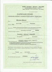 Zaświadczenie BHiP Mirosław Makuch str 1