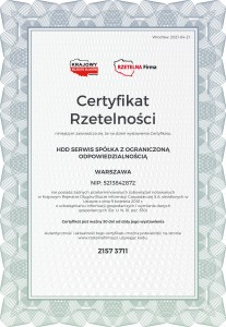 Certyfikat Rzetelności HDD SERWIS